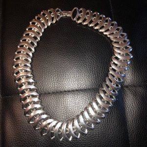 Amazing Silver Tone Geometric Metal Necklace